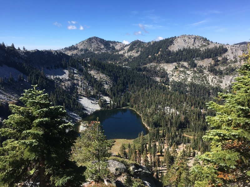 View of Long Gulch Lake from crest in Trinity Alps Wilderness
