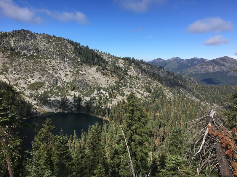 View of Trail Gulch Lake from crest in Trinity Alps Wilderness.