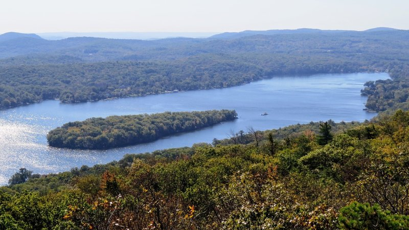 Fox Island on the NJ side of Greenwood Lake on hazy day in mid-October.