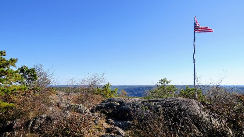 Winds whip the American Flag atop Prospect Rock off the Appalachian Trail in southern NY State