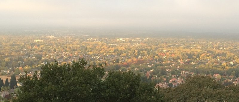 View of Windsor from the top of Alta Vista. A bit smokey from the catastrophic fires last week.