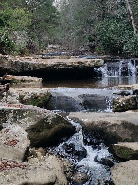 Cascading waterfall on Bark Camp creek.