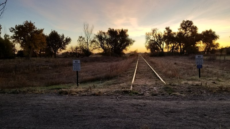 Looking east along the former railroad tracks.