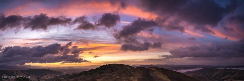 Panaroma view minutes before sunrise.