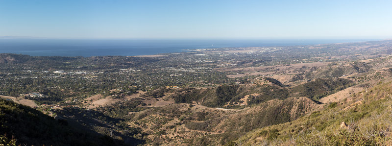 Panoramic view of the Pacific Ocean across Santa Barbara and Goleta from Inspiration Point.