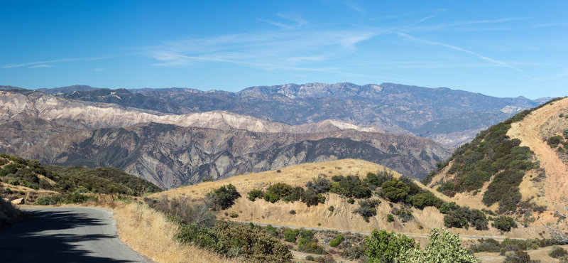 A view into Los Padres National Forest from East Camino Cielo
