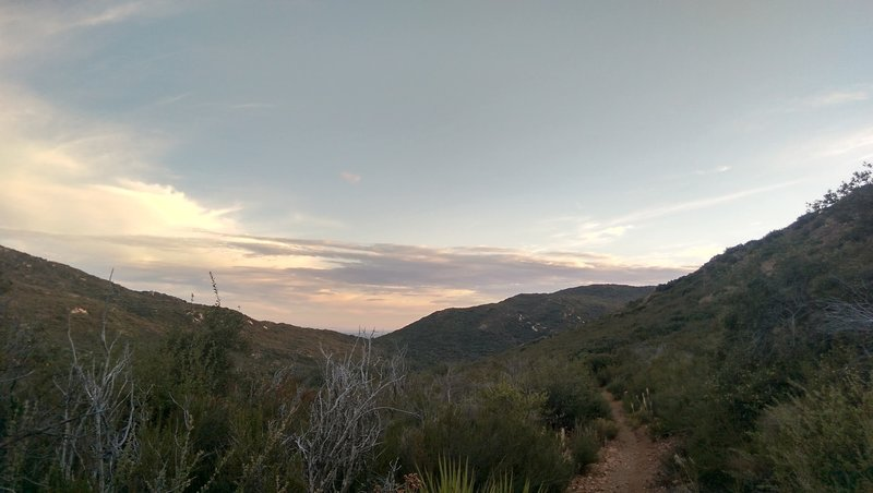 Portion of PCT near Fred Canyon Rd at dusk. Oct 18, 2017.