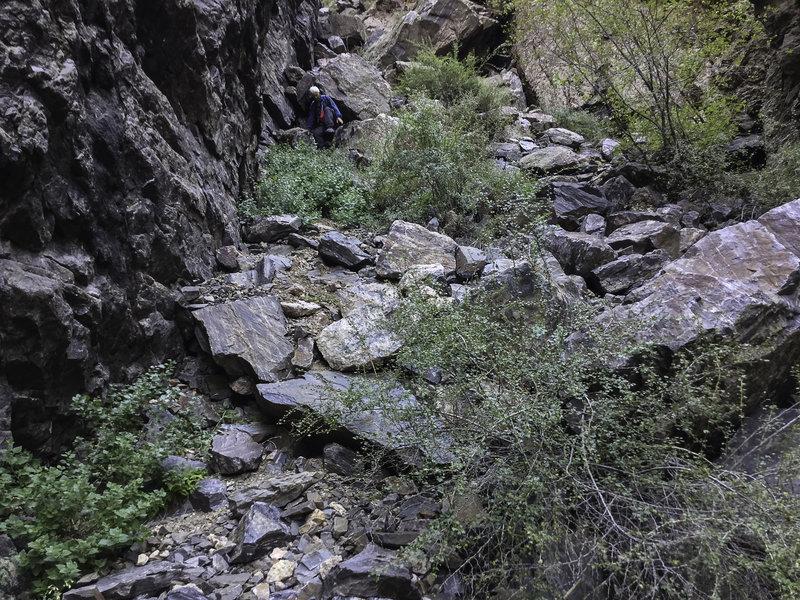Steep, rocky trail.