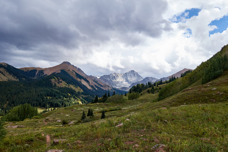 Looking south up Capitol Creek valley towards Capitol Peak.