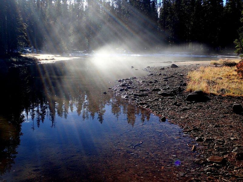 Early morning fog at Puck Lakes