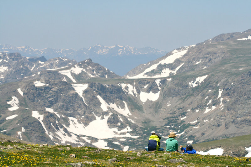 An alpine meadow provides a scenic picnic stop just below the summit of Mount Audubon.