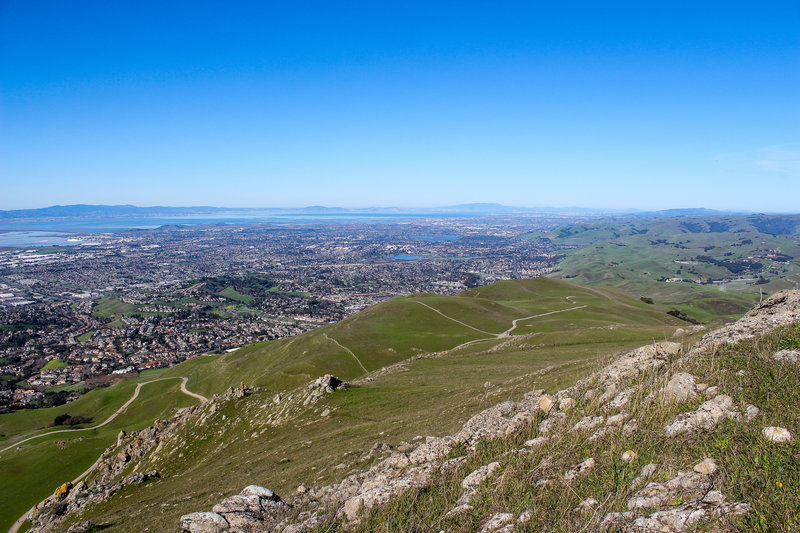 Fremont and Hayward from Mission Peak with the windy Ohlone Wilderness Trail in the front