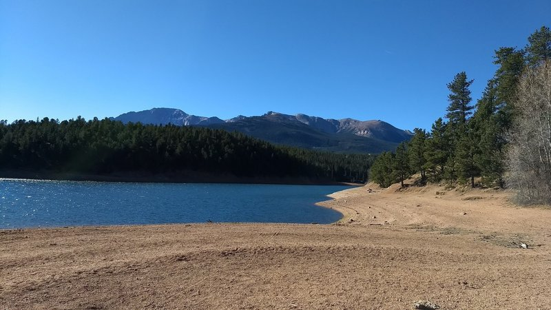 The Catamount Reservoir with mountains in the background.