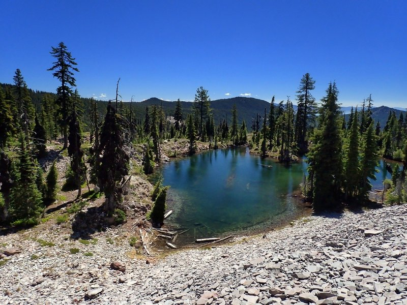 One of the Snow Lakes at the base of a huge shale rubble field.