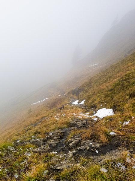 Descending through a fog layer.