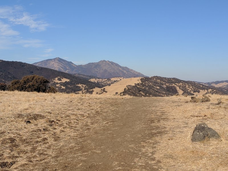 Nice view of Mount Diablo heading west on the top of the trail.