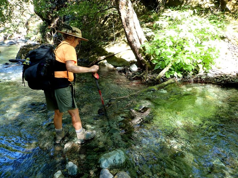 Crossing Mule Creek at low water.