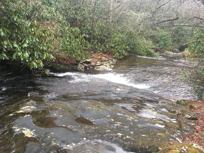 Water slide feature on Upper Snowbird Creek - Uphillhikes.com