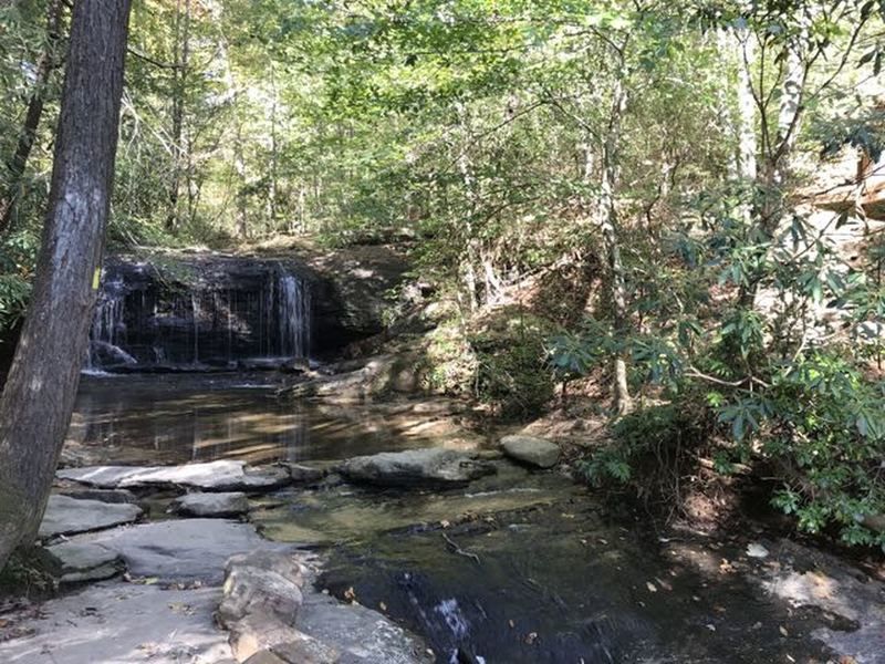 Upper section of the lower Wildcat Falls with rocks to hop across for the trail.