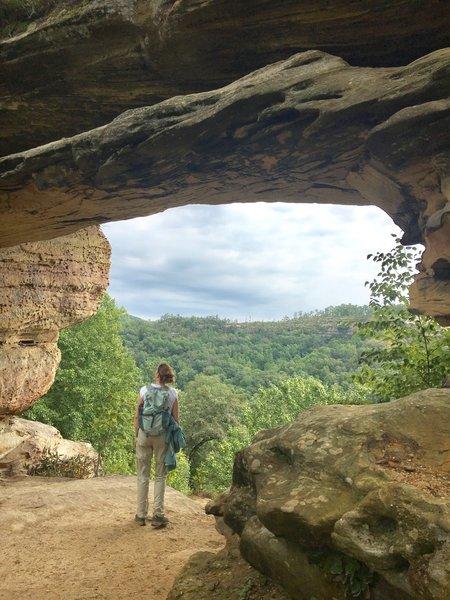 View under double arch towards Auxier Ridge