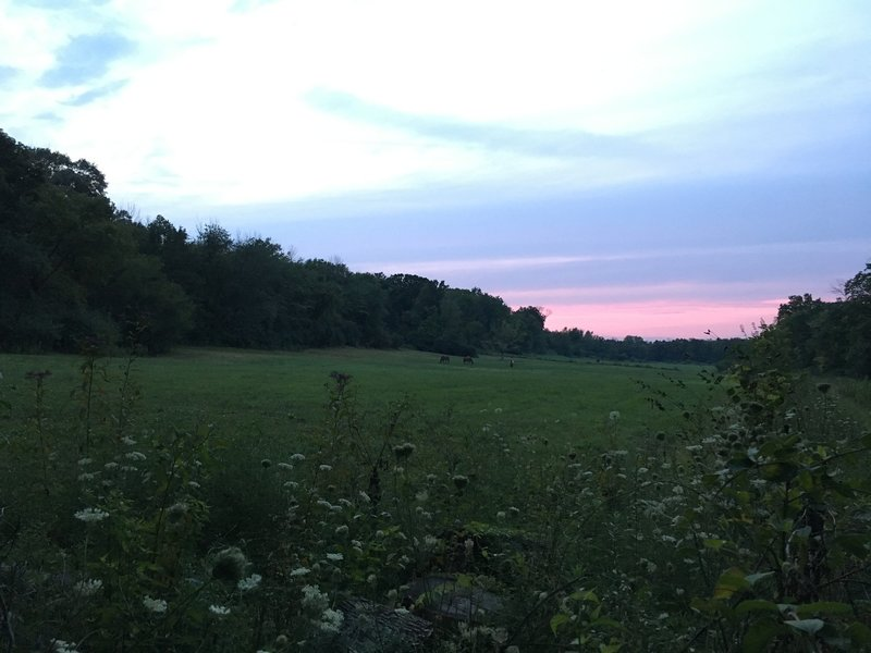 Experience Beautiful Sunsets across the fields near the TVT backpacking route