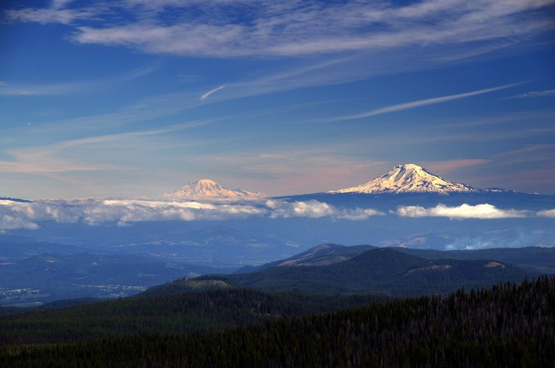 Mount Rainier and Mount Adams from Lookout Mountain