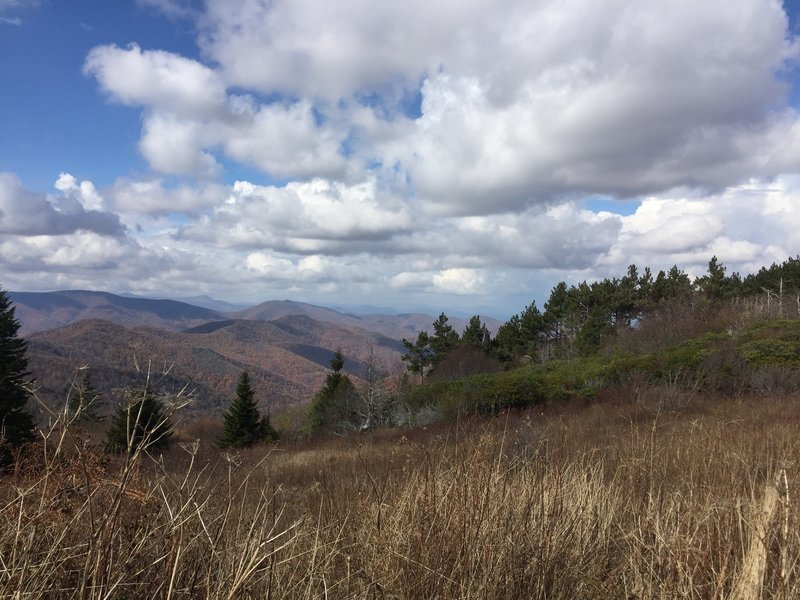 Expansive views across the Smoky Mountains from along the Art Loeb Trail