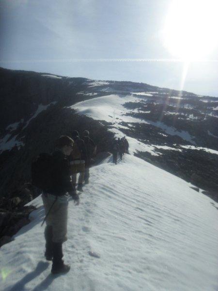 Knife edge ridge on ascent of Cloud Peak. (Summer 2017)