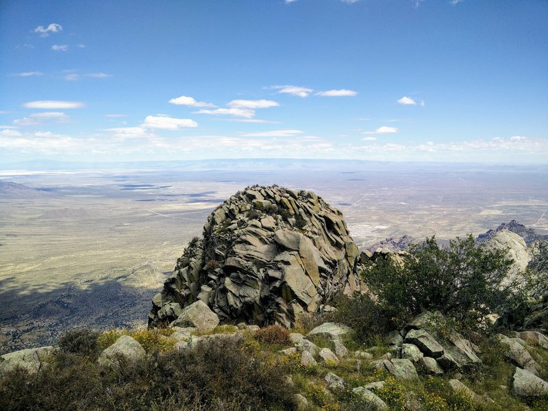 A view from Organ Needle towards White Sands Missile Range; White Sands Nat'l Monument can be seen at the upper left