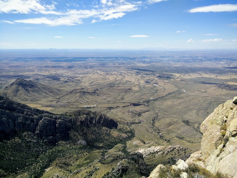 A view from Organ Needle of Dripping Springs Natural Area with Las Cruces in the background, upper right