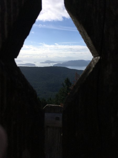 View of the San Juan Islands from inside the Moran Observation Tower.