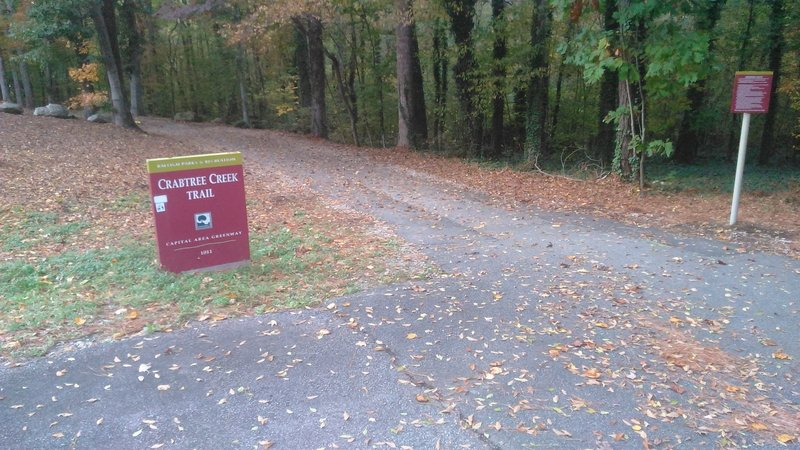 North Hills Park entrance to Crabtree Creek Trail