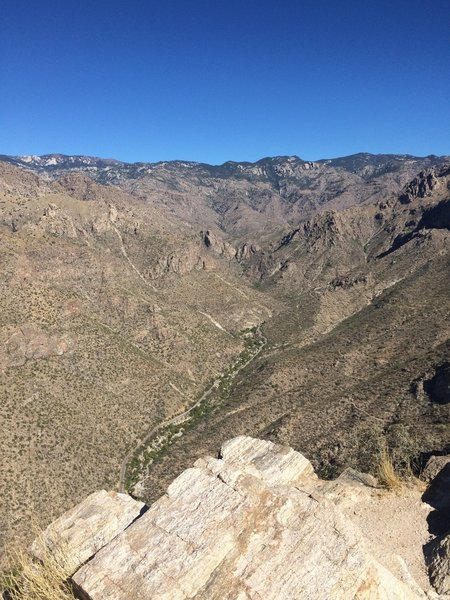 View looking northeast with North Upper Sabino Road in the distance.