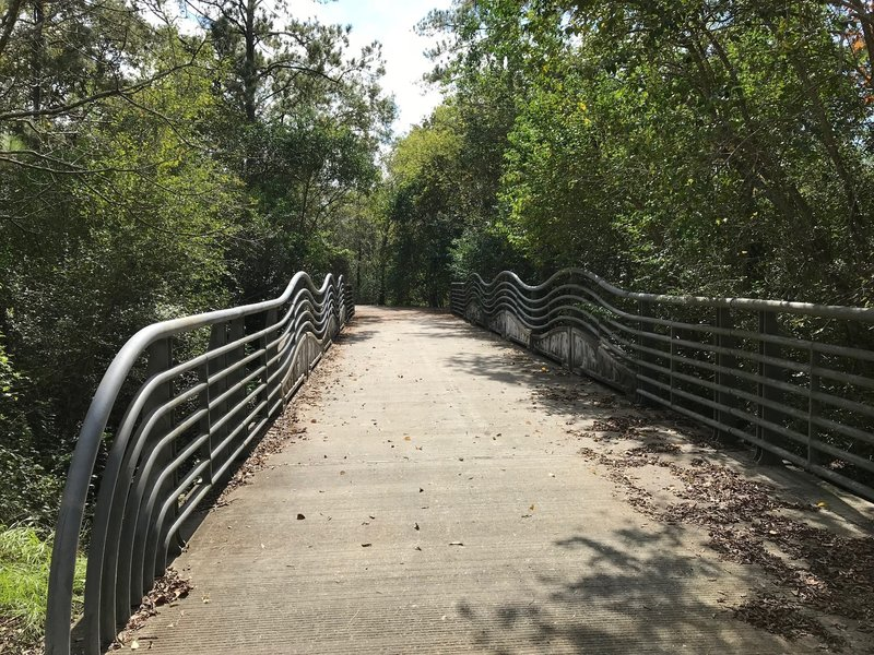 The bridge over a tributary to Hunting Bayou is rather over-engineered compared to the rest of the trail system