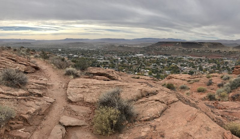 Trail and city view