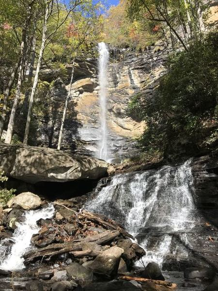 Reward after a climb up Rainbow Falls Trail to find Rainbow Falls, view from the lower level.