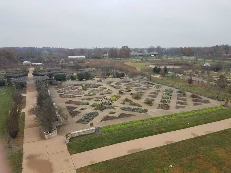 View of the Heartland Harvest Garden's Quilt Pattern from the observation deck in November-Powell Gardens