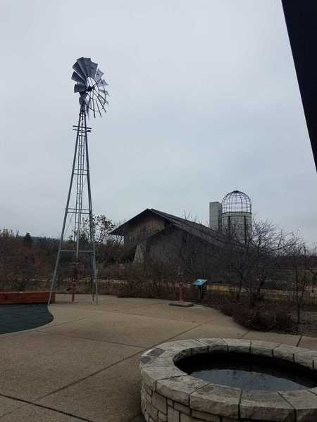 November view of the windmill and barn in the Heartland Harvest Garden-Powell Gardens