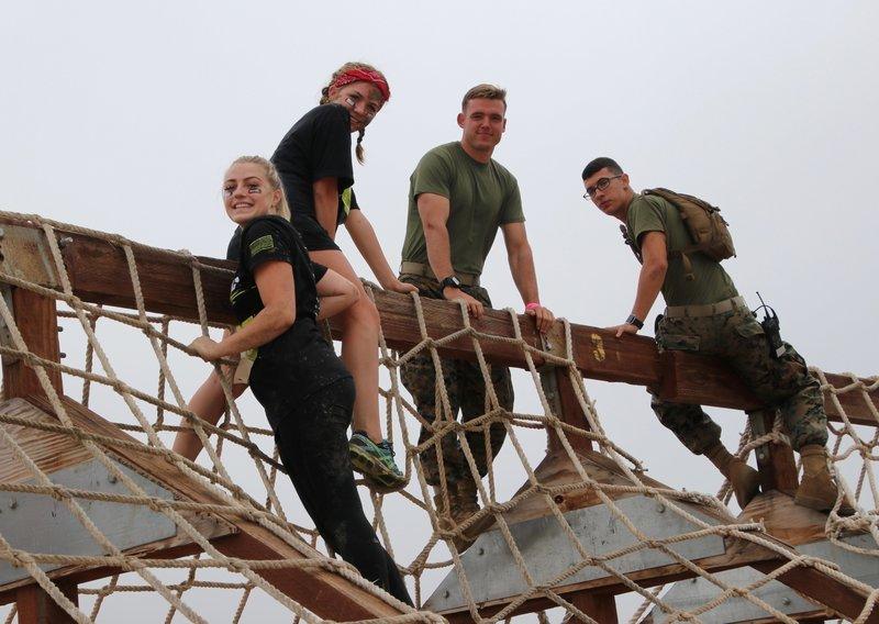 Cargo Net Climb with Marine Volunteers