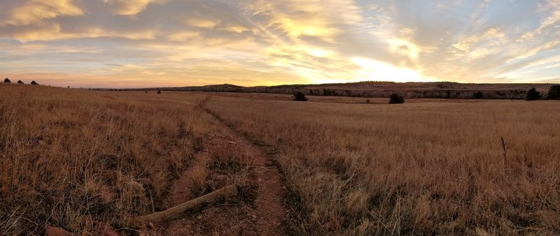 Looking east toward the sunrise, along the South Boulder Creek West trail.