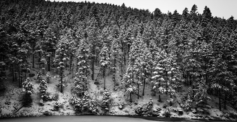 North side of the first reservoir covered in snow.