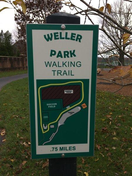 Entrance to Weller Park Walking Trail