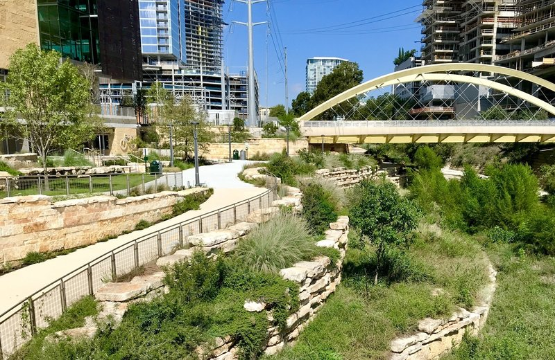 The newly remodeled section of Shoal Creek trail... south end