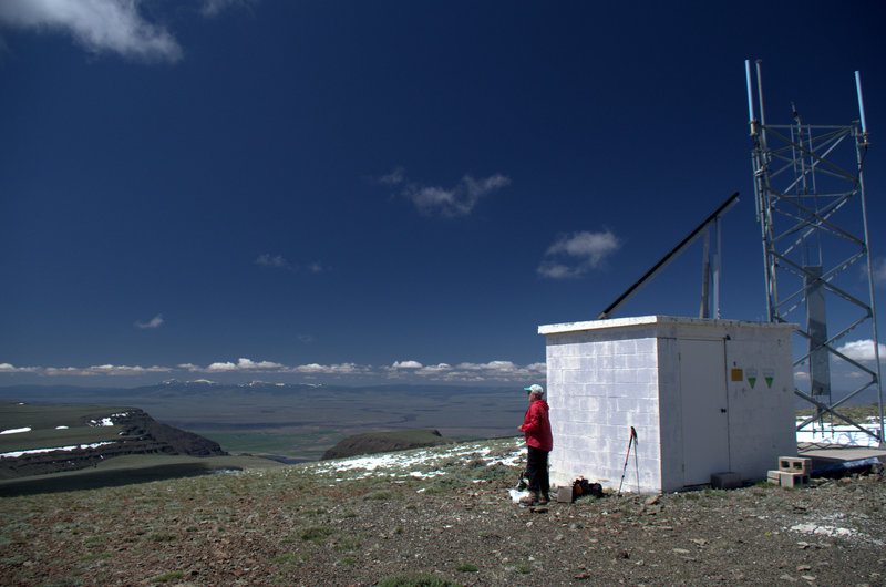The repeater station on, and the view west from, Warner Peak