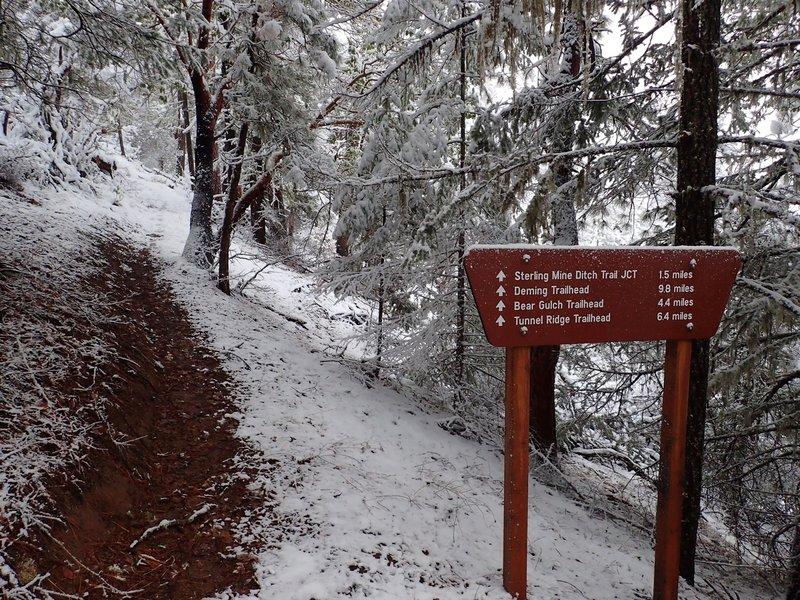 The Wolf Gap Trailhead in winter