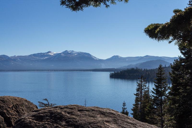 View across Lake Tahoe towards South Lake Tahoe