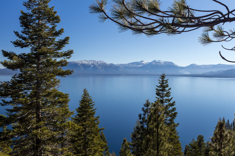 View across Lake Tahoe from Rubicon Trail in D.L. Bliss State Park
