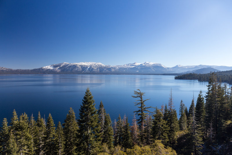 Lake Tahoe on a sunny day after the first snow in fall