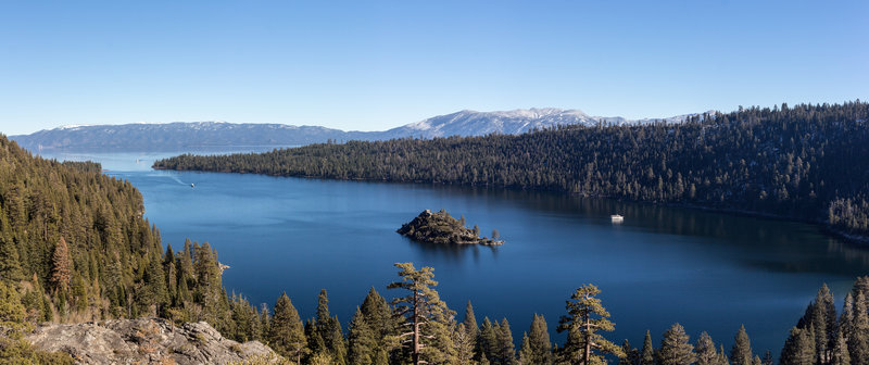 Emerald Bay with Fannette Island from Emerald Bay Overlook at the beginning of Vikingsholm Trail