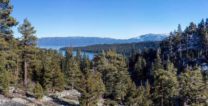Lake Tahoe and Emerald Bay from the vista point at the end of the Eagle Trail Loop